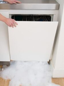 An example of water damage via a dishwasher.